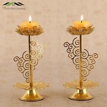 Chandelier votif en métal Lotus rétro   Bougeoirs pour les prières quotidiennes, candélabres bouddha, support de lampe au beurre bouddhiste GZT034 2 pièces/lot
