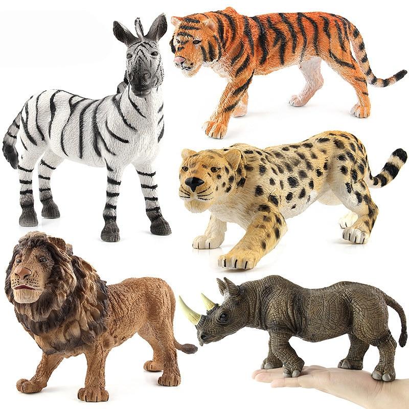 Tigre león/rinoceronte/cebra Animal figura coleccionable juguete figuras de acción Animal de los niños de Juguetes