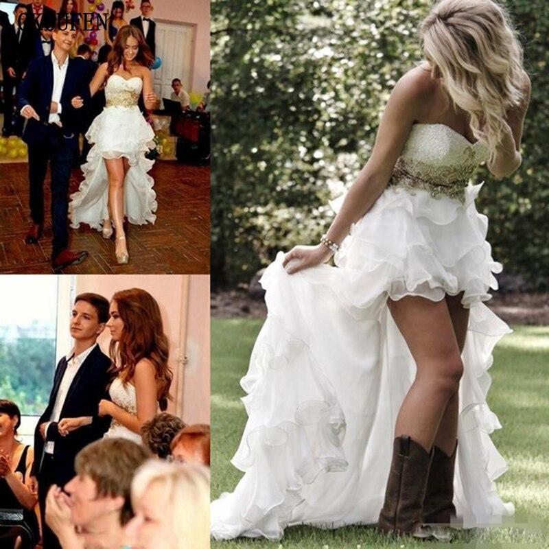 Blanco Vestido de vestidos de novia 2019 Simple elegante del hombro apliques...