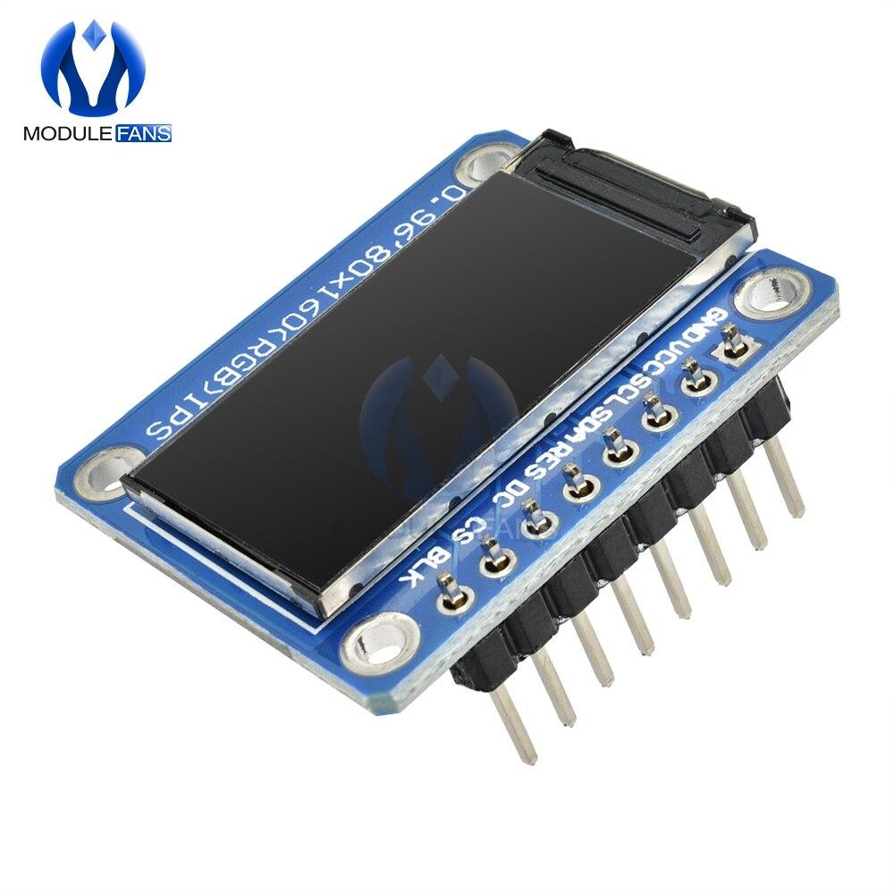 0,96 pulgadas 8 Pin 8PIN IPS SPI HD 65K Color TFT módulo ST7735 conducir IC 160*80 pantalla LCD 3,3 V, interfaz SPI para Arduino