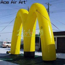 Nouveau modèle gonflable géant darc jaune, portes dentrée gonflables de décoration de modèle de lettre M pour la promotion