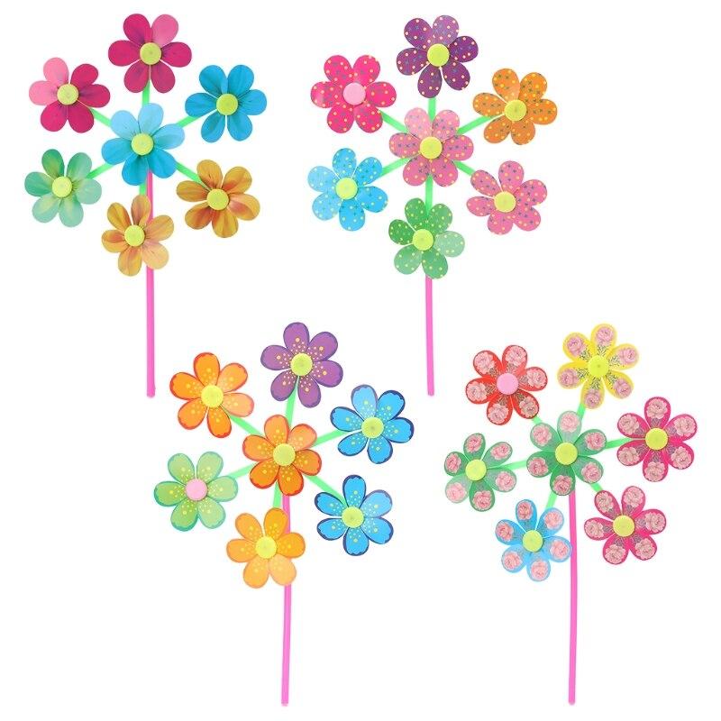 Flor padrão girador vento moinho crianças brinquedos jardim quintal decoração