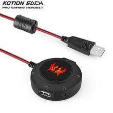 KOTION JEDER S2 USB 2.0 Soundkarte HUB Stereo Kopfhörer Mic Adapter 3D Surround Sound Externe Audio Converter für PC Laptops