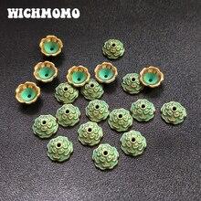 50 pcs 10mm patine plaqué alliage de Zinc vert entretoise perle embouts pour bricolage perles Bracelet collier résultats de bijoux PJ022