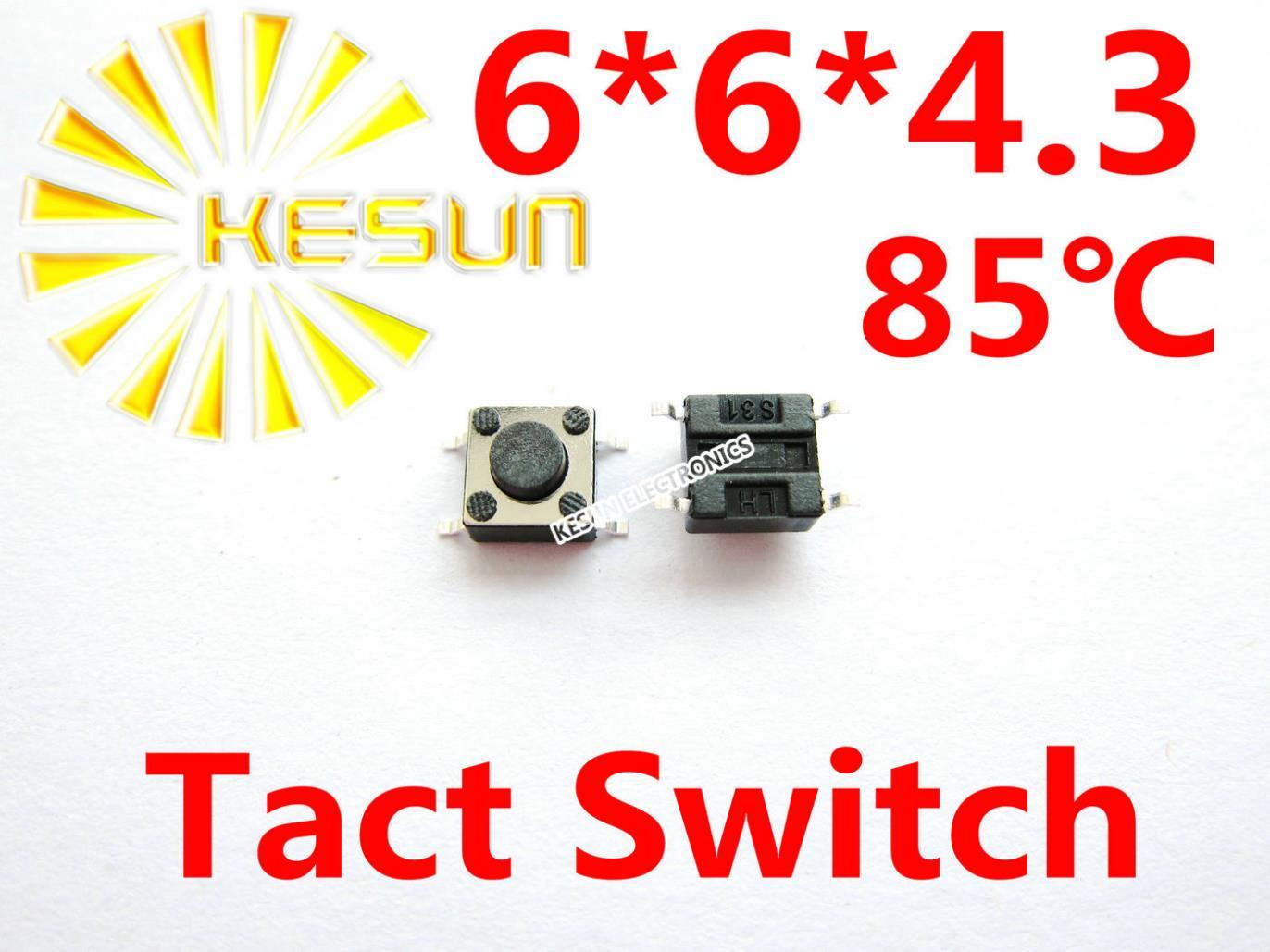 1000 шт. 6X6X4.3 SMD тактильный Такт Мини кнопочный переключатель Микро Переключатель мгновенный