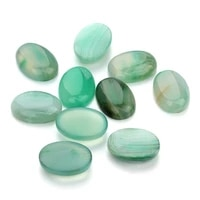 wholesale 10pcslot 1318mm oval flat back green striped agates cabochons beads natural stone beads for diy jewelry finding