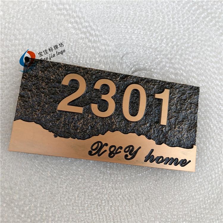 Tamaño 20*10cm diseño retro de lujo números y letras personalizado casa puerta del hotel placas