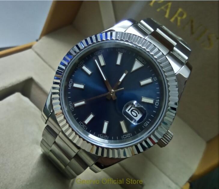 Sapphire crystal 40mm GEERVO Blue dial Asian Automatic Self-Wind  movement men's watch  luminous Mechanical Wristwatches 09