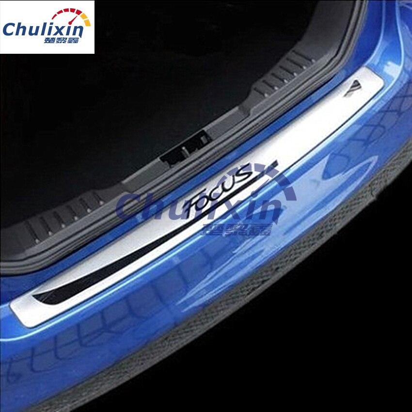 Placa de protección de desgaste de maletero trasero de acero inoxidable, estilo de pedal de coche para Ford Focus 3 MK3 2012-2015, accesorios de coche