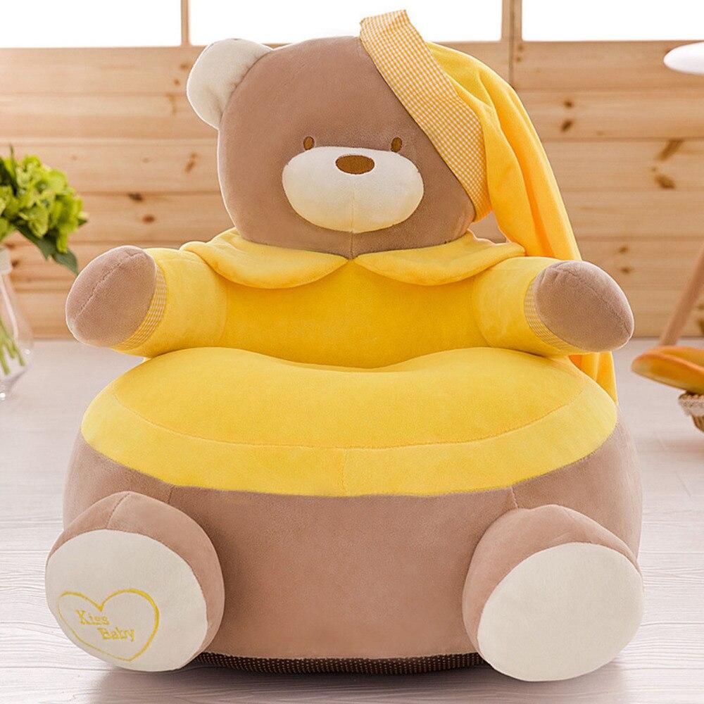 Asiento de bebé, asiento de piel para niños, asiento de sofá para niños, asiento de nido lavable para niños, oso de dibujos animados, solo funda de terciopelo para niños, sin relleno