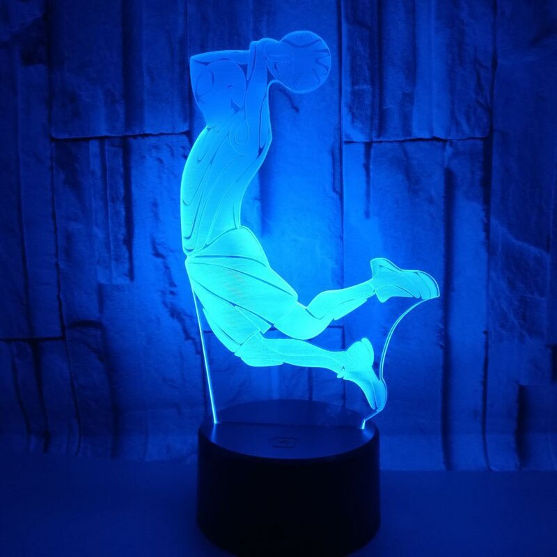 Creative 3D Visual Basketball Dunk Led luz de noche 7 cambio de Color CASA MESA fiesta Bar decoración lámpara iluminación niños Fans mejores regalos