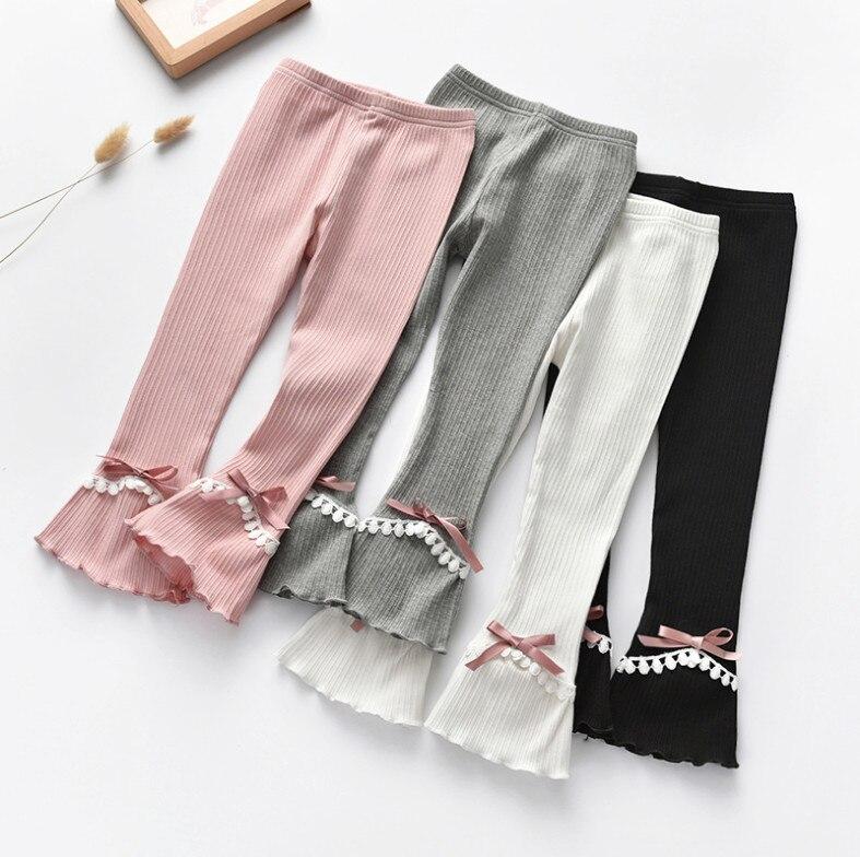 Новые весенне-летние штаны для маленьких девочек, детские кружевные брюки с бантом, брюки-клеш, хлопковые брюки для детей ясельного возраста, милые леггинсы для девочек, одежда