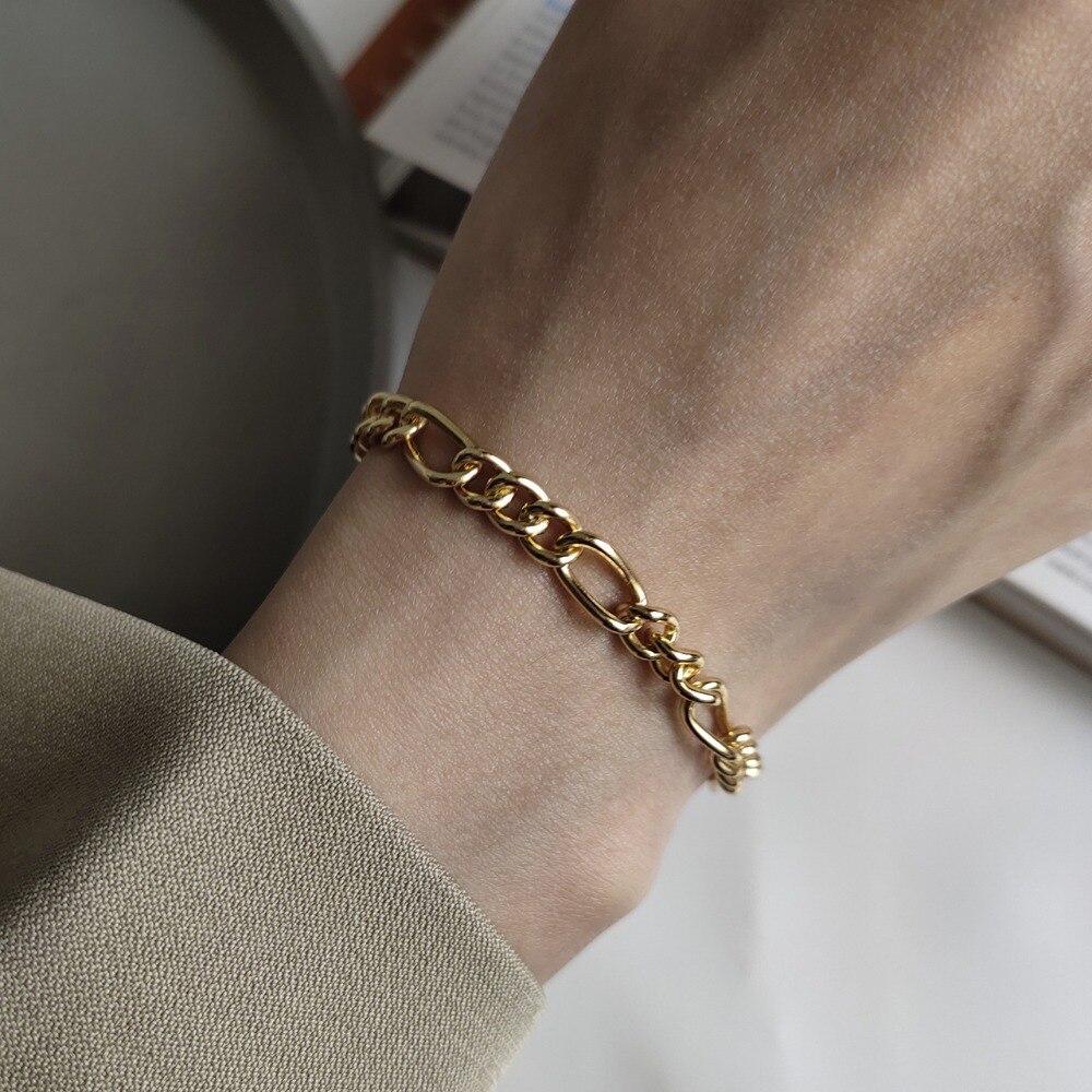 Indústria de metal authentic 925 prata esterlina branco/ouro cubana figaro link corrente pulseira ajustar hip hop fine jewelry tls105