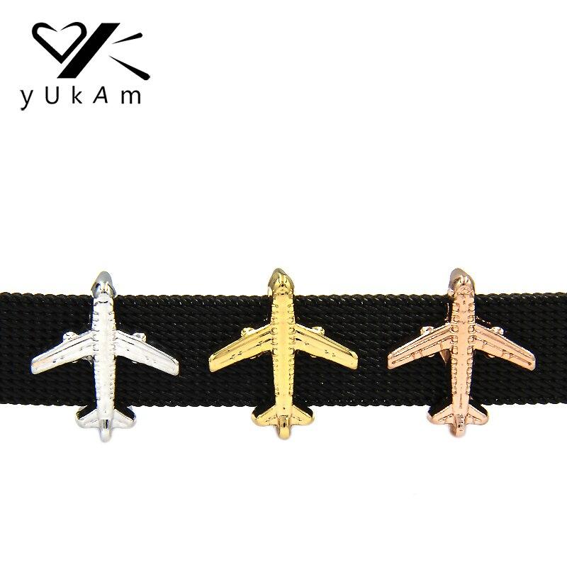 Joyería YUKAM Keys Airplane Slide Charms Keeper para pulseras de malla de acero inoxidable fabricación de accesorios