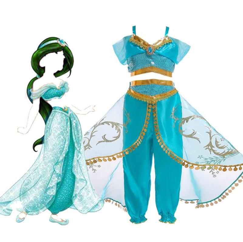 Vestido de fiesta de Navidad para niños, disfraz de Aladdín, disfraz de princesa Jasmine para niñas, vestido de dos piezas