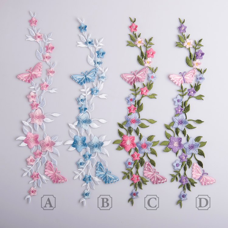 4 pçs/lote 4 cor atacado Trajes da borboleta e flor Lace patch buiter cola de Volta laço de tecido bordado Ferro em AC248