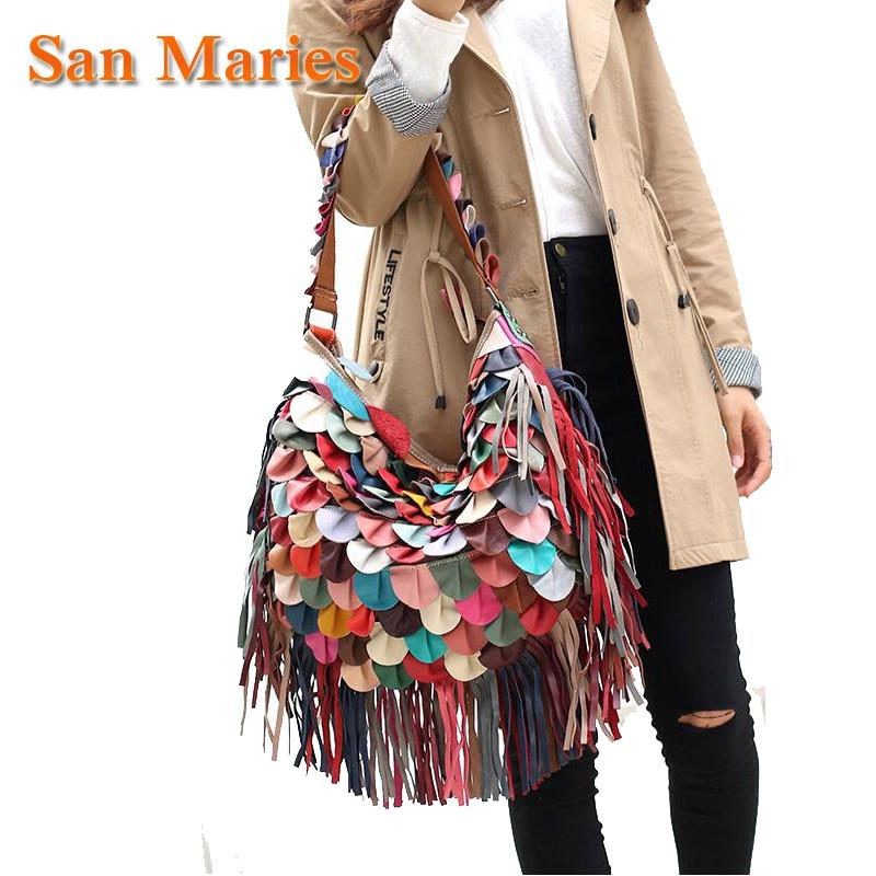 سان ماريز الطلاب! 100% جلد طبيعي شرابة حقائب hoهوبوس المرأة حقيبة كتف هامش المرقعة حقائب اليد
