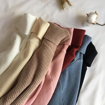 Pull épais en tricot côtelé à manches longues et col roulé pour Femme, chandail doux et chaud, Slim, collection automne hiver 2021
