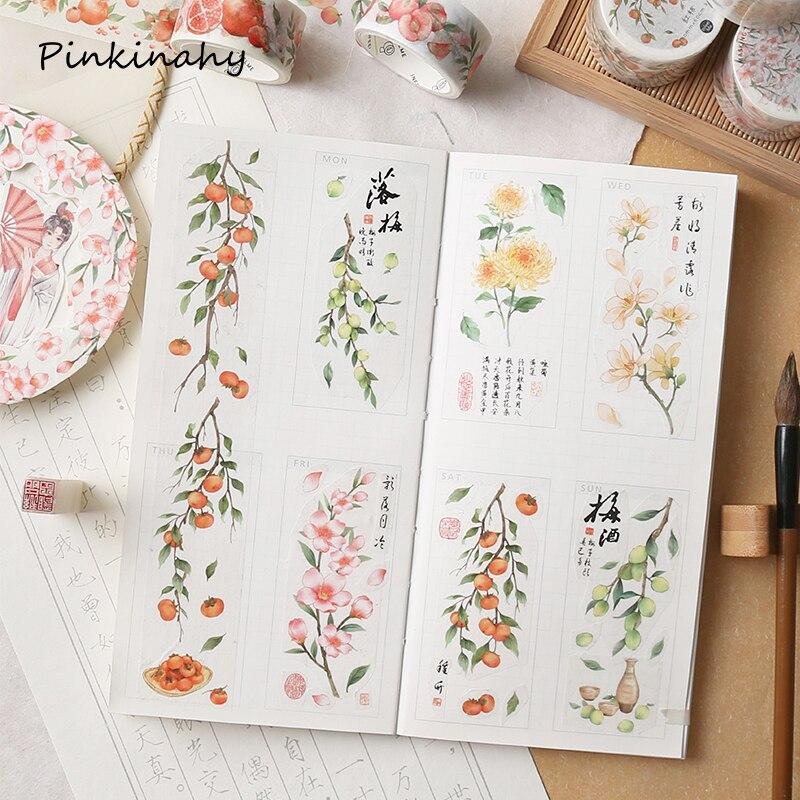 Retro série antiga flores washi fita decorativa papel pegajoso mascaramento fita adesiva scrapbooking diy etiqueta artesanato jd034