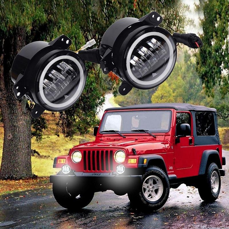 Faros antiniebla LED de 4 pulgadas y 30W, luz diurna de 6000K, anillo Halo blanco para Jeep Wrangler JK JKU TJ LJ Freedom Edition L20