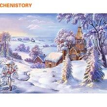 CHENISTORY فرملس عيد الميلاد سنو العالم دهان داي بواسطة أرقام المشهد الاكريليك الطلاء الحديثة جدار صورة فنية للديكور المنزل