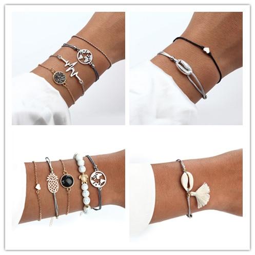 Summer Hot Sale Bohemian Style Bracelet Set Boho Charm Pulseras Simple Natural Stone Bracelet For Women Silver Gold Love Chain