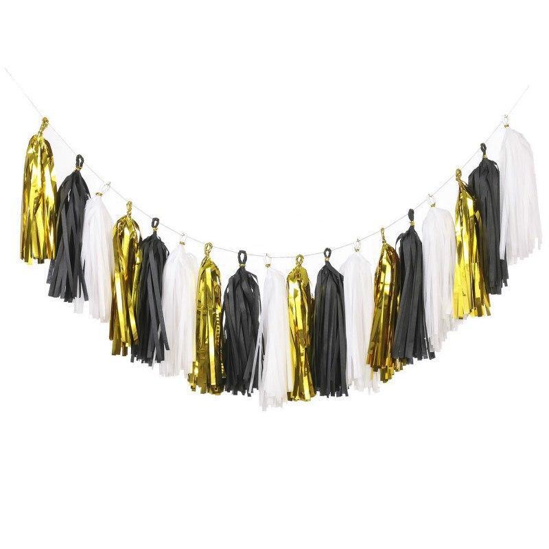 Borlas de papel tisú de 15 Uds. Con borlas y Guirnalda para bodas, fiestas y eventos para bebés (metálico dorado, negro y blanco)