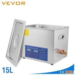 Us stock líquido de limpeza ultrassônico 15l grande comercial líquido de limpeza ultrassônico de aço inoxidável