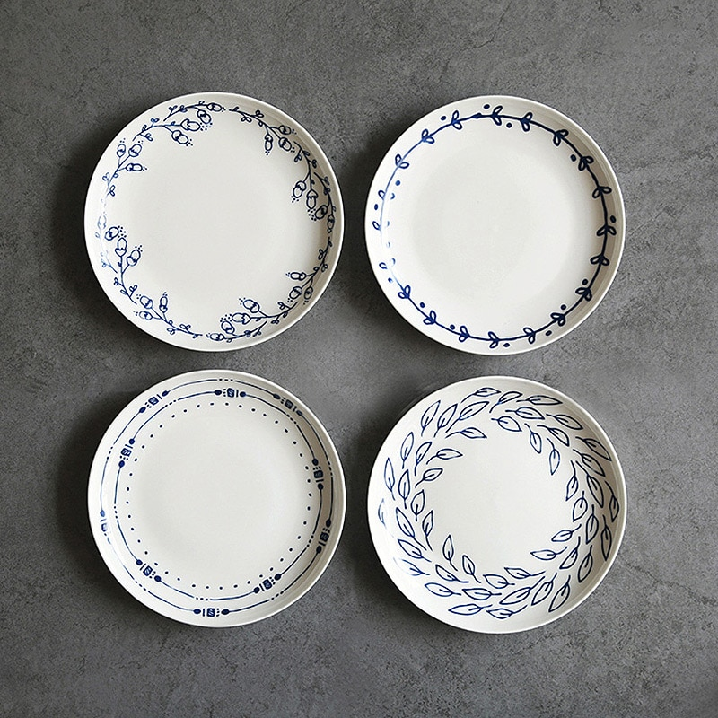 Alta calidad azul blanco Pastoral Simple 7 pulgadas 45% Bone China platos de cena cerámica On-glazed dibujo de planta platos redondos