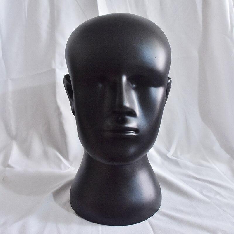Cabeza de maniquíes Boli de moda negra para hombre, modelo de cabeza, pantalla de pelo, cabeza de entrenamiento para peluca, sombrero, bufanda, cabeza de maniquí