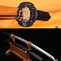 Hand made Japanese Sword Battle Ready Bamboo Tsuba Samurai Katana Swords Black