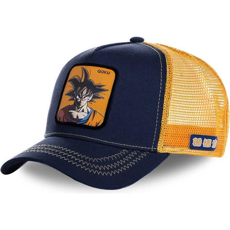 New Brand Anime Mesh Cap Anime Goku Baseball Cap High Quality Curved Brim Navy&Orange Snapback Hat G