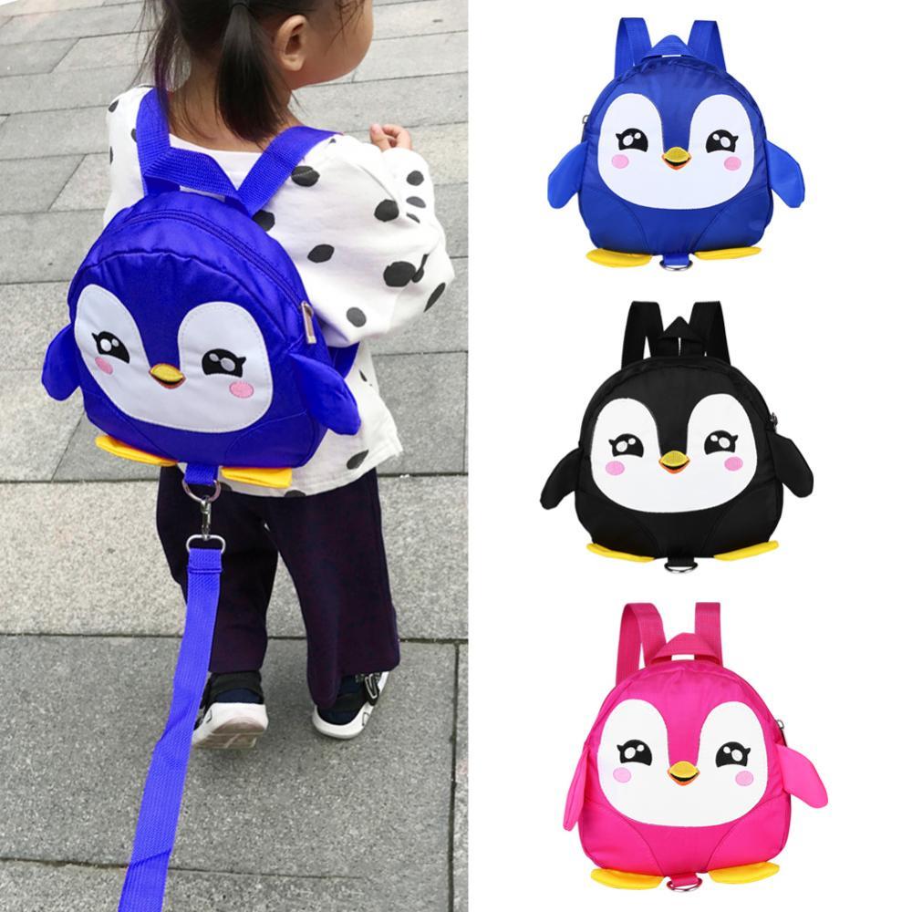 Мультяшный Пингвин, детский рюкзак с ремнем безопасности, сумка для защиты от потери, детский школьный рюкзак, регулируемая сумка на ремне с замком