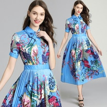 2019 Designer Runway Dress Women Summer Print Turn-down Collar Shirt Dress Pleated Swing Party Dresses