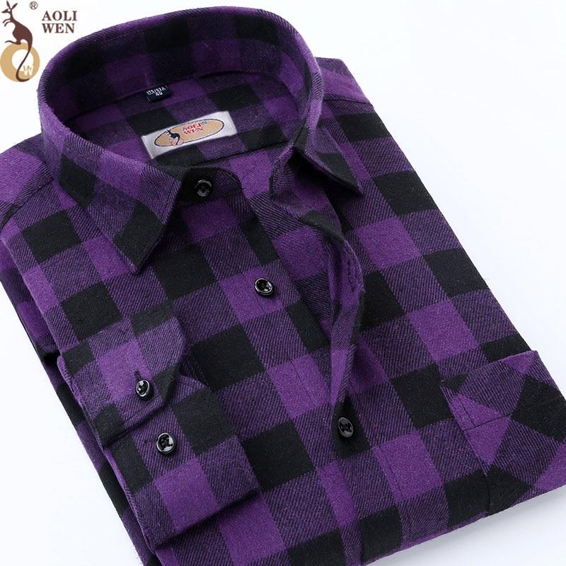 рубашка мужская рубашка в клетку мужска рубашка в клетку фиолетовая рубашка Рубашка мужская с длинным рукавом, хлопок, фиолетовый принт, в к...