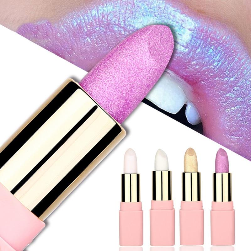 Batom brilhante colorido dourado, brilho labial, moda perolada, batom, maquiagem, 8 cores, hidratante, tslm1