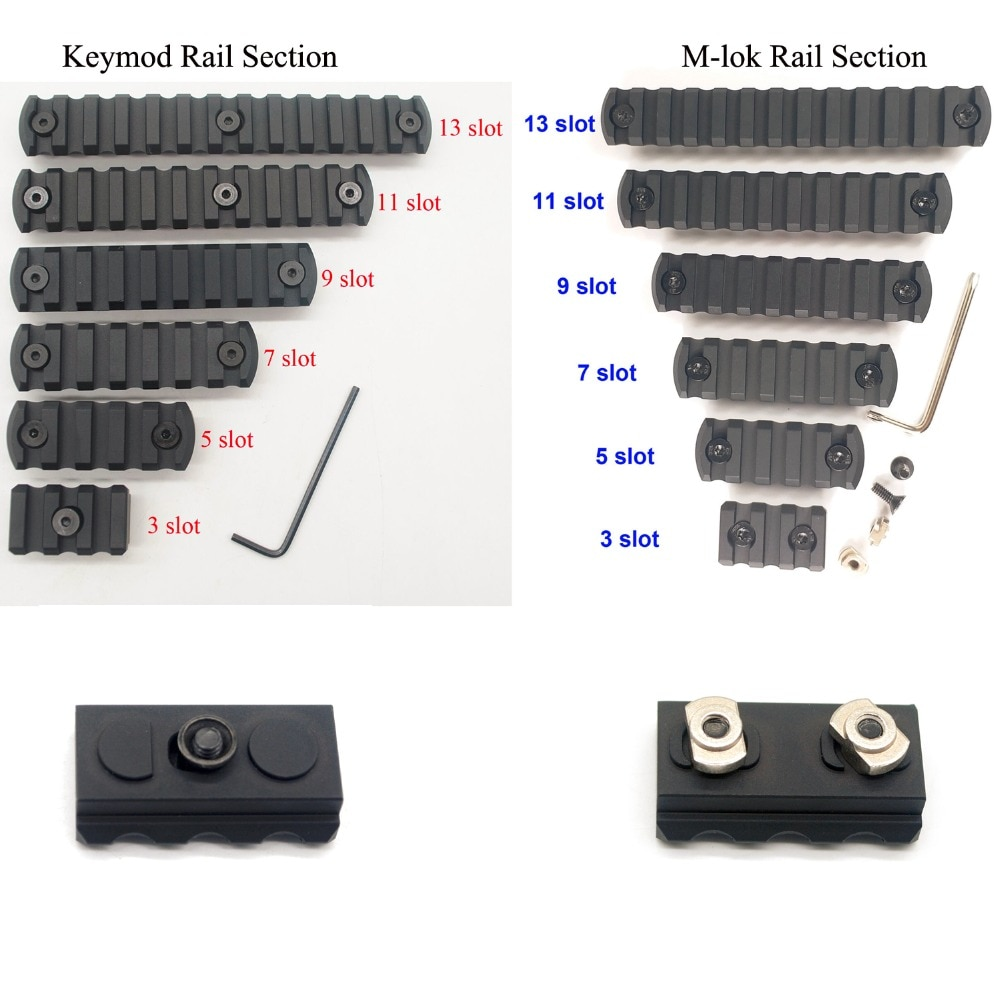 Aplus 3/5/7/9/11/13 Slots Rail Sections For Keymod / M-lok Handguard Picatinny/Weaver Mount Adapter_Black Anodized