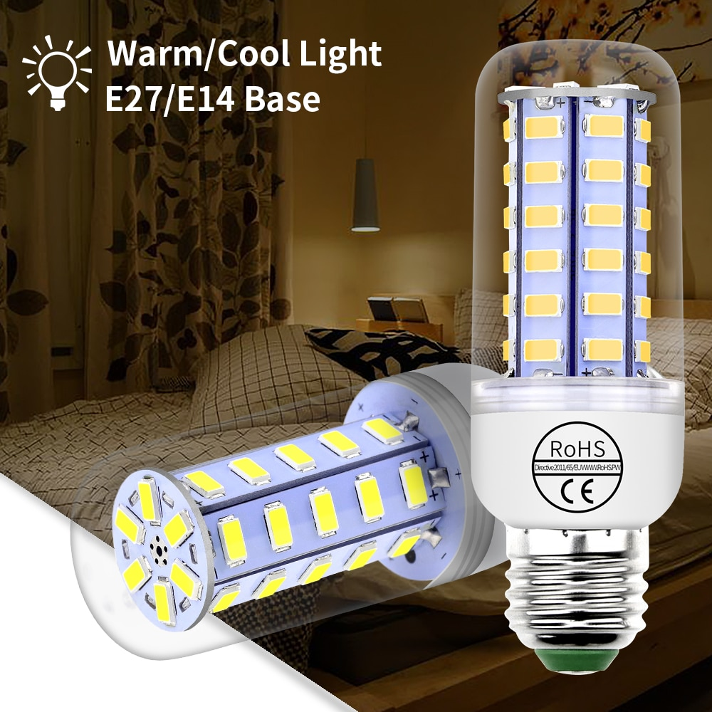 Lampada Led E27 Led-lampe 220V E14 Led Lampe 5730SMD bombillas led Mais Licht 24 36 48 56 69 72leds Kronleuchter 3W 5W 7W 9W 12W 15W