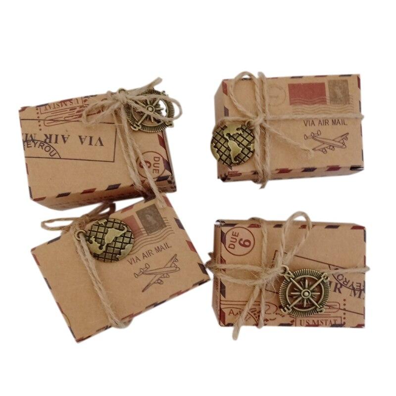 10 pçs/lote Selo Do Vintage Projeto Caixa Dos Doces Do Casamento do Chocolate Embalagem Caixa de Presente Kraft Saco de Favores e Presentes de Casamento Fontes Do Partido