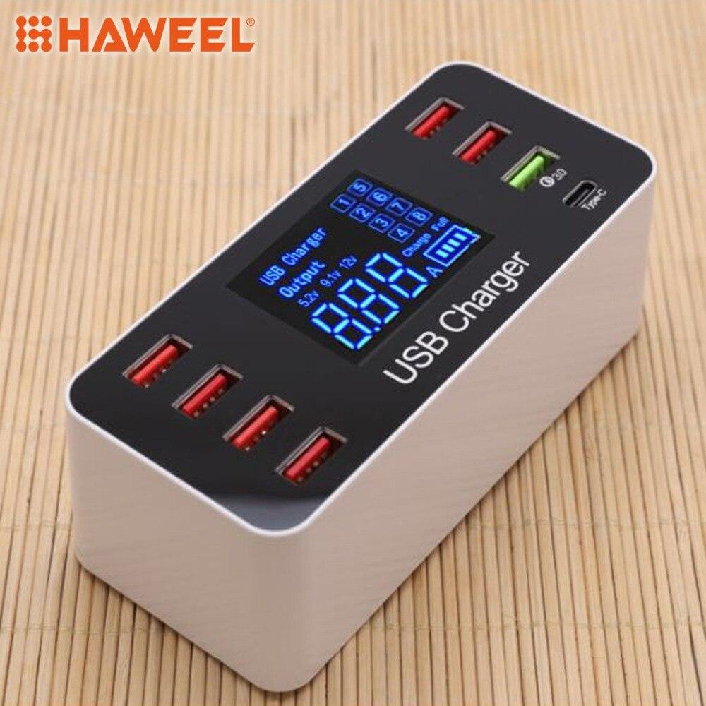 Estación de carga desmontable HAWEEL soporte de cargador inteligente QC3.0 multifunción AC 100V ~ 240V 8 puertos USB pantalla Digital LCD