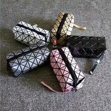 New Fashion Brand Pvc Makeup Bag Geometric Folding Stone Women Travel Cosmetic Bag Organizer Makeup Case Clutch 11 Colors