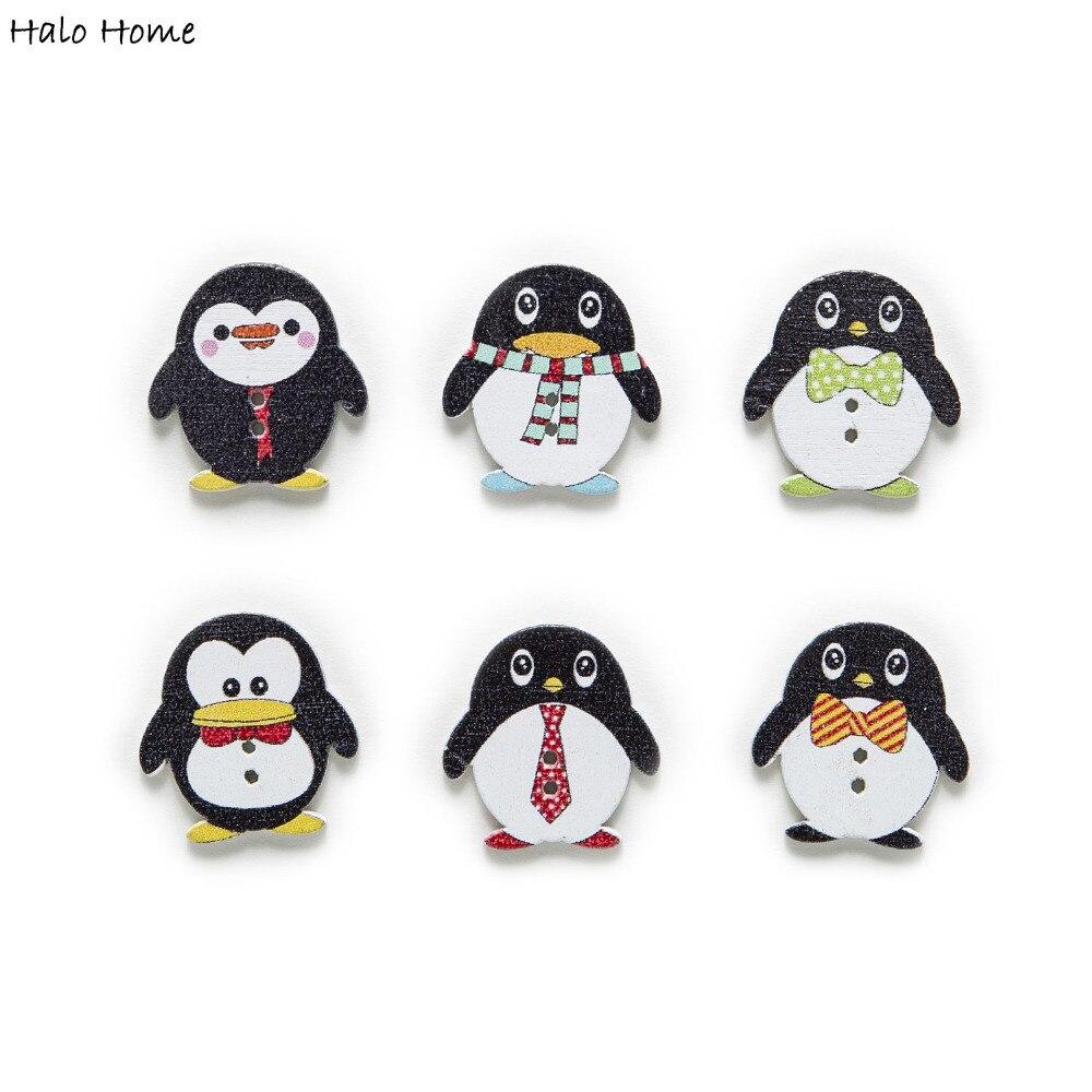 30 stücke Mischte Nette Pinguin Holz Tasten Nähen Scrapbooking Geschenk Kleidung Hause Handarbeit Decor Cartoon DIY 25x24mm