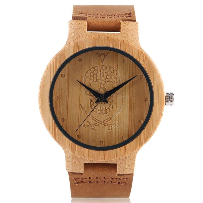 YISUYA Quartz Watch Men Bamboo Natural Wood Pirate Ghost Carving Peculiar Genuine Leather Straps Women's Wrist-watch Dress Gift