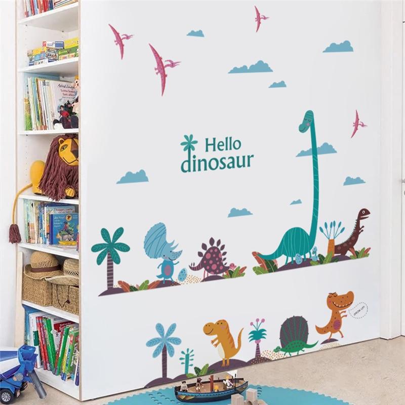 Graciosas pegatinas de pared de hello, dinosaurio, decoración para dormitorio, guardería, decoración para el hogar, pegatinas de pared de animales de dibujos animados, arte mural de pvc, afiches de bricolaje