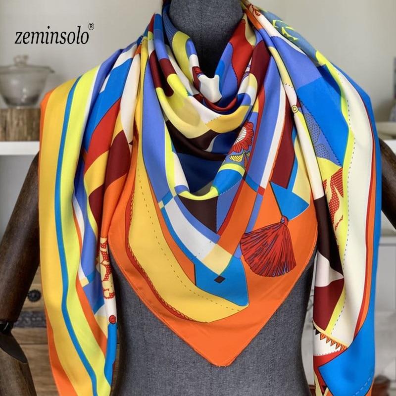 130x130cm Square Silk Scarf Luxury Brand Women Bandana Floral Scarves Stoles Shawls For Satin Shawl