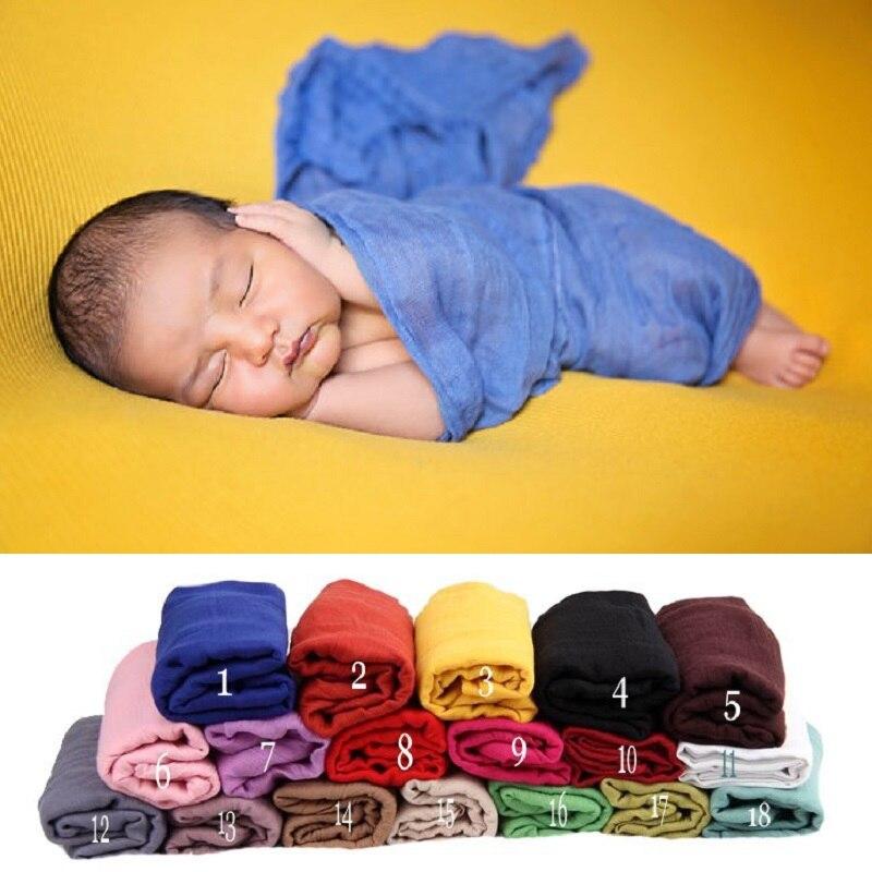 Sólido recién nacido envoltura de toallas accesorios de fotografía bebé foto de fondo de cama envoltura chal chica que recibe mantas saco de dormir infantil