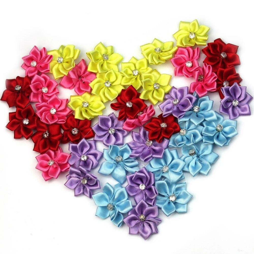 40 шт./лот, Милая атласная лента, цветок из ткани со стразами для маленьких девочек, ободки с аппликацией, украшение, шитье, 28 мм