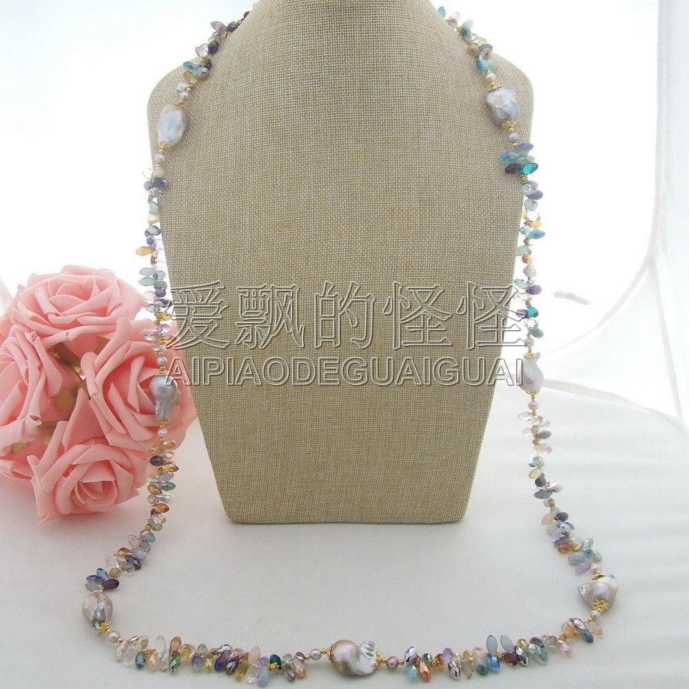 N041801 49 25 MM púrpura Keshi perla multicolor collar de cristal