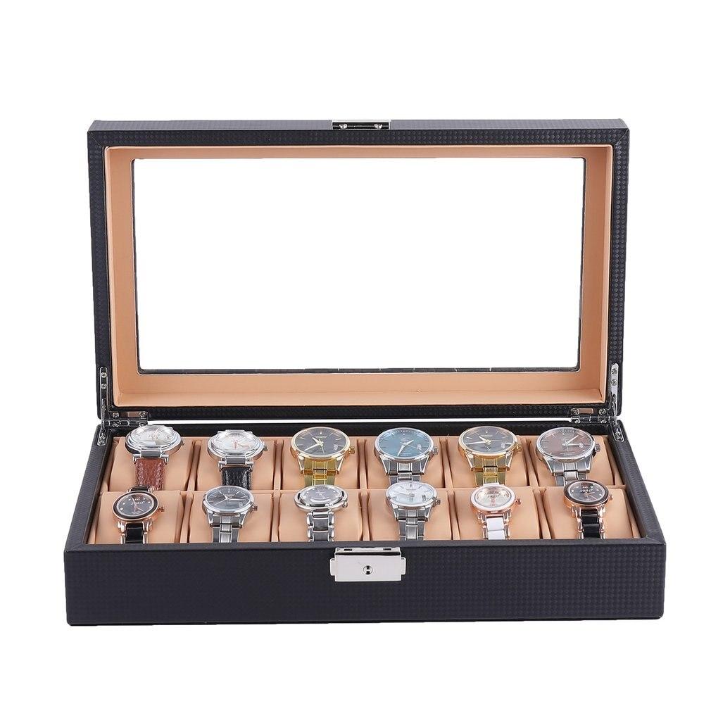 6/12 caja de reloj con ranura de cuero de fibra de carbono Caja expositor de relojes de muñeca almacenamiento organizador caja de reloj joyería Dispay caja de reloj