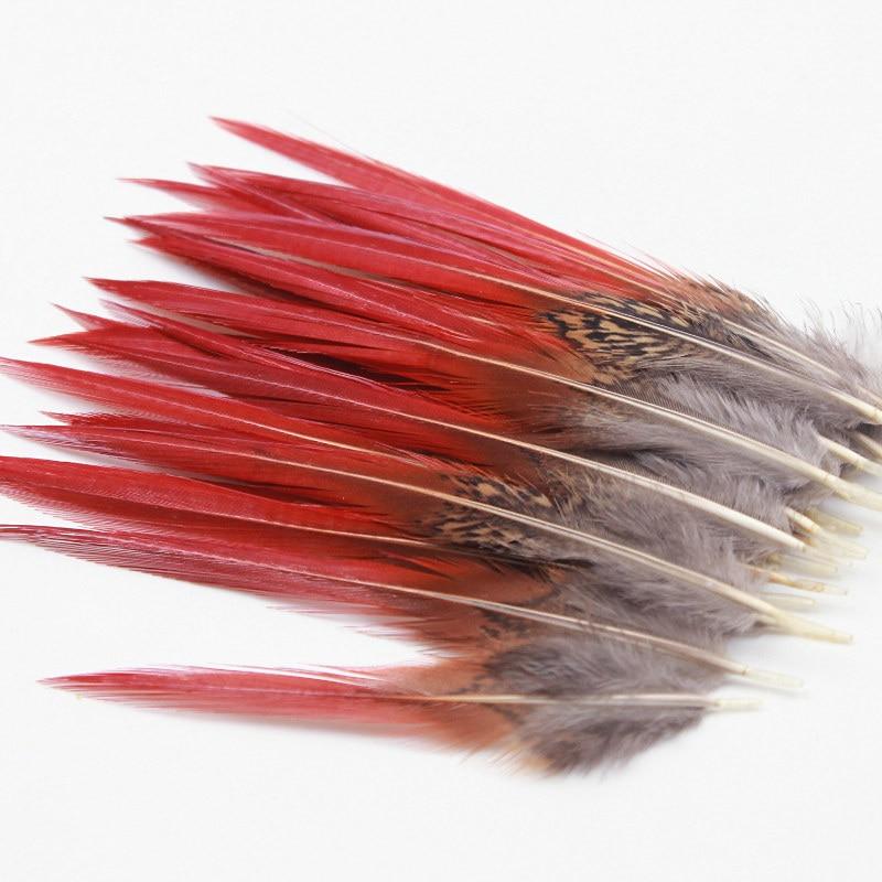 ¡Venta al por mayor! plumas de faisán hermosas de 4-6 pulgadas 10-15CM para artesanías espada roja plumas raras para hacer joyas accesorios plumas